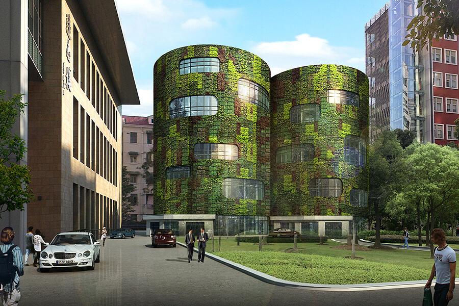 画像:円形全自動立体駐車場システム施工イメージ